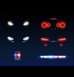 Emergency service car light equipment set vector