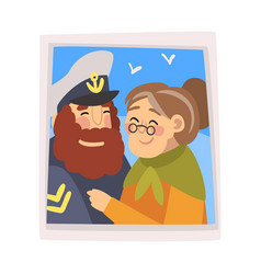 family portrait photo happy smiling captain vector image