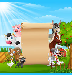 Farm animals with a blank sign paper vector