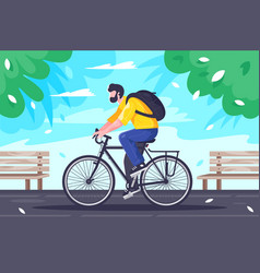flat young man with backpack rides on cycling at vector image
