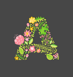 Floral summer letter a flower capital wedding vector