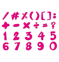font design for numbers and signs in pink vector image