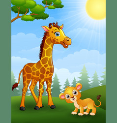 Giraffe and lion cub cartoon in the jungle vector