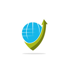globe arrow logo vector image