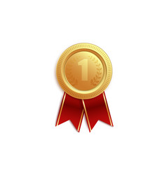 gold medal icon for first place with red ribbons vector image