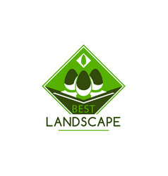 Green landscape gardening company tree icon vector