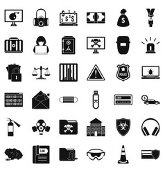 Hacker icons set simple style vector