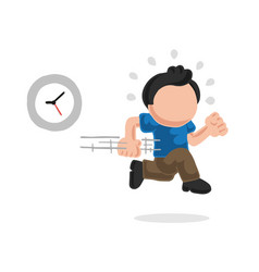 Hand-drawn cartoon of man running late with clock vector
