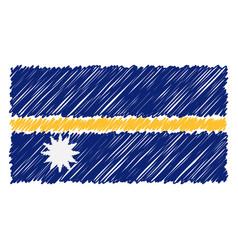 Hand drawn national flag of nauru isolated on a vector