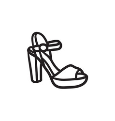 High-heeled sandal sketch icon vector