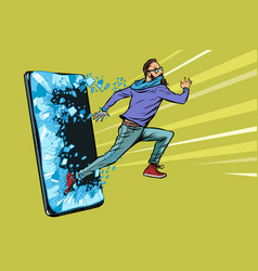 hipster man running phone gadget smartphone vector image