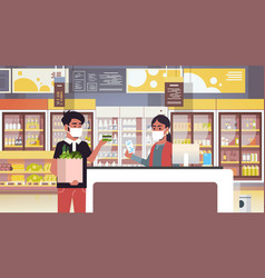 indian cashier and man customer in medical vector image