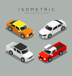 Isometric colorful car collections vector