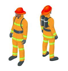 isometric fireman under vector image