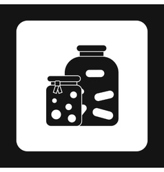 Jam jars icon simple style vector image