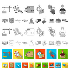 logistics and delivery flat icons in set vector image
