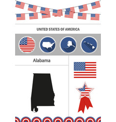map of alabama set of flat design icons vector image