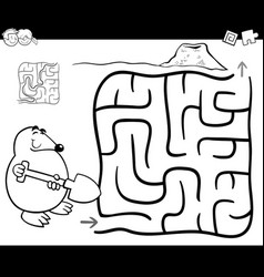 Maze with mole coloring page vector