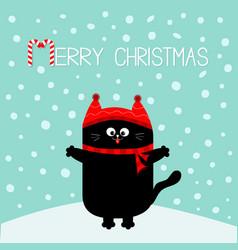 Merry christmas candy cane text black cat kitten vector