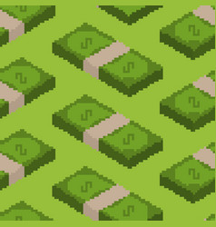 money pixel art seamless pattern pixelated cash vector image