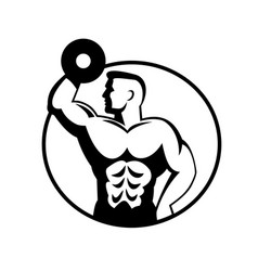 Muscular bodybuilder lifting dumbbell viewed from vector