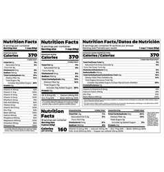 Nutrition facts label design template for food vector