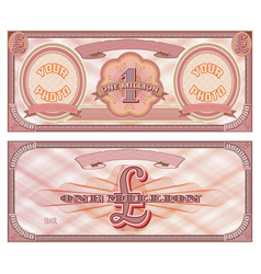 One million pounds red banknote sample two photos vector