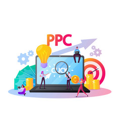 Pay per click concept tiny characters at huge vector
