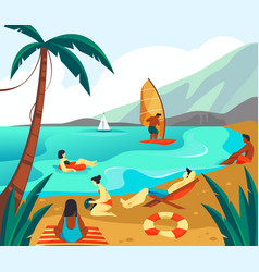 people or tourists have vacation seascape banner vector image