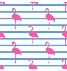 Pink flamingos seamless pattern vector