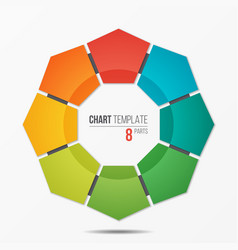 Polygonal circle chart infographic template with 8 vector