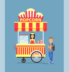 Popcorn stall and customer vector