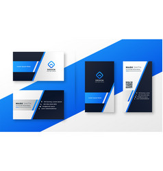 Professional blue business card template set vector