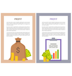 profit info vertical posters with money and coins vector image