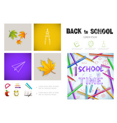 realistic school time infographic concept vector image