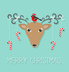 reindeeer head merry christmas hanging stick vector image