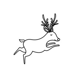 reindeer animal forest icon on white background vector image