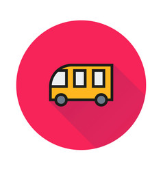 school bus icon on round background vector image