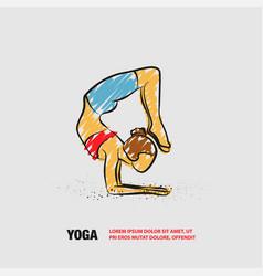 Scorpion yoga pose outline woman vector