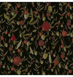 Seamless leaves and flowers pattern vector image