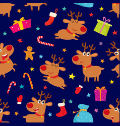 seamless pattern with cute cartoon reindeers vector image