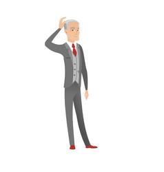 Senior caucasian businessman scratching head vector