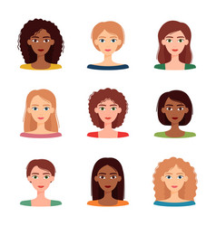 set avatars women with different hairstyles vector image