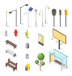 Set of isometric city objects vector