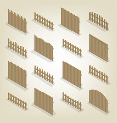 Set of isometric spans wooden fences vector
