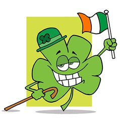 Shamrock Character Wearing A Green Hat vector image