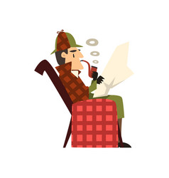 Sherlock holmes detective character sitting in vector