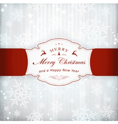 Silver Christmas Invitation Card With Red vector image