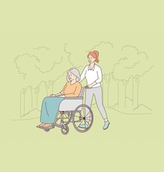 taking care disabled elderly people concept vector image