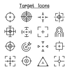 target aim icon set in thin line style vector image